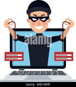 Hacker on laptop - Stock Photo