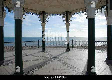 The view of the sea from the Brighton Bandstand - Stock Photo