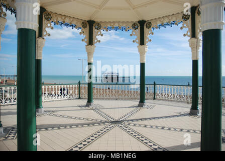 view of the West Pier from The Bandstand on Brighton seafront - Stock Photo