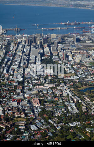 Cape Town CBD, and Table Bay, South Africa - aerial - Stock Photo