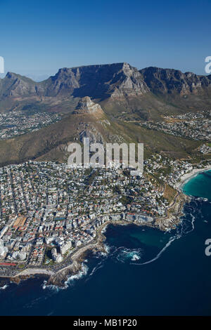 Sea Point (left), Bantry Bay, Clifton Beach (right), Lion's Head, and Table Mountain, Cape Town, South Africa - aerial - Stock Photo