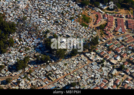 Imizamo Yethu township, Hout Bay, Cape Town, South Africa - aerial - Stock Photo