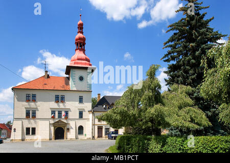 Town hall in town Bela pod Bezdezem, Liberec region, North Bohemia, Czech republic - Stock Photo