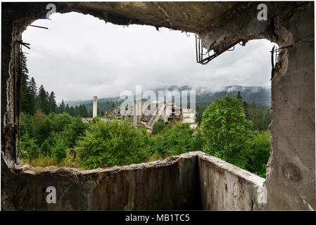 Panoramic View Of The Sarajevo City From Inside Of An Abandoned Destroyed Building By War, Capital Of Bosnia And Herzegovina In Balkan Eastern Europe - Stock Photo