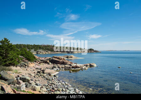 Finland,Hanko Early Summer. Scenic view of Baltic sea, and blue sky. Peaceful Finnish landscape. - Stock Photo
