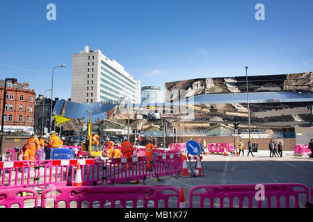 Work underway in Navigation Street, Birmingham building the new tram extension line from the City Centre to Five Ways. - Stock Photo