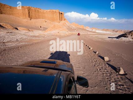 Driving through Moon Valley, Atacama Desert, Chile. - Stock Photo