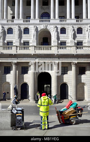 London, England, UK. Bank of England on Threadneedle Street and street cleaner in Hi Vis jacket - Stock Photo
