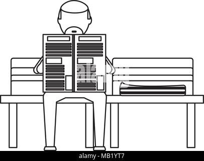 old man sitting reading a newspaper on a bench over white background, vector illustration - Stock Photo