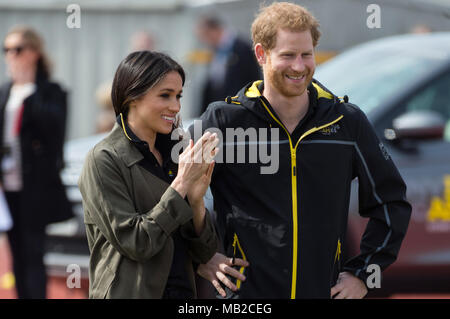 Prince Harry and Meghan Markle attend Invictus Games Trials, Bath, UK - 6th April 2018 - Stock Photo