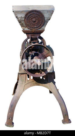 Rusty metal alien warrior with a weapon joking concept. Retro vntage agrotechnical machinery isolated on white with path - Stock Photo