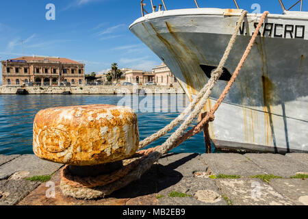 Quay of the port of Siracusa in Ortigia, SIcily, Italy. - Stock Photo