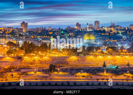 Old Town of Jerusalem. Cityscape image of Jerusalem, Israel with Dome of the Rock at sunset. - Stock Photo