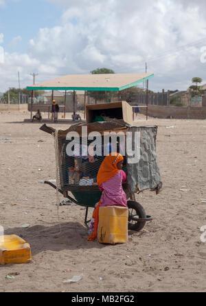 Somali girl selling stuff in a mobile shop, Woqooyi Galbeed region, Hargeisa, Somaliland - Stock Photo