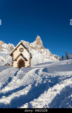 Pale di San Martino mountains, View of Passo Rolle, San Martino di Castrozza village, Trento district, Trentino Alto Adige, Italy - Stock Photo