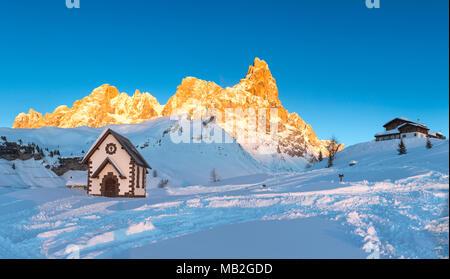 Pale di San Martino mountains, View of Passo Rolle, San Martino di Castrozza village, Trento district, Trentino Alto Adige, Italy - Stock Photo