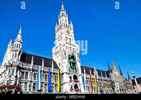 Town Hall on Marienplatz square in Munich, Germany - Stock Photo