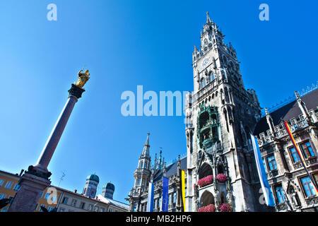 Town Hall on Marienplatz square in Munich, Germany - Stock Photo