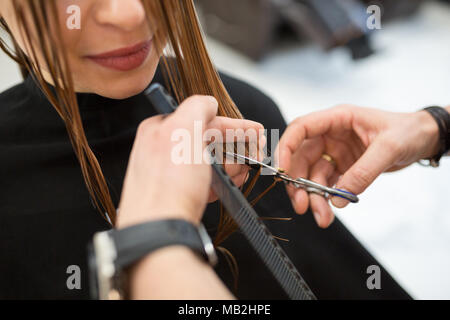 Cropped portrait of young woman having hair cut by hairdresser - Stock Photo
