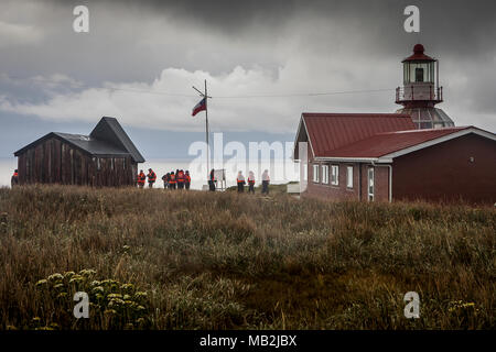 Lighthouse and capilla Stella-Maris, Cape Horn, Tierra de Fuego, Patagonia, Chile - Stock Photo
