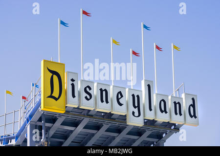 ANAHEIM, CA/USA - OCTOBER 10, 2015: Mickey Mouse on sign at Downtown Disney. - Stock Photo