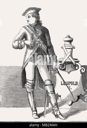 Leopold II, 1747 - 1792, born Peter Leopold Joseph Anton Joachim Pius Gotthard, Holy Roman Emperor and King of Hungary and Bohemia - Stock Photo