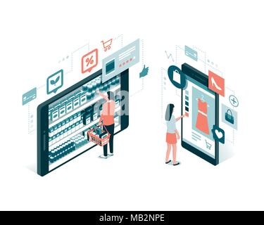 Users doing online shopping and buying grocery items using a mobile app: technology and retail concept - Stock Photo