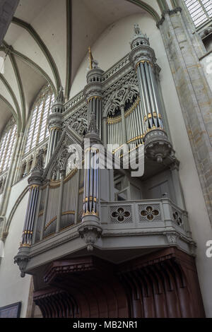 Utrecht, Netherlands - August 13, 2016: The organ of the Dom Church was build in 1831 by Johan and Jonathan Batz. - Stock Photo