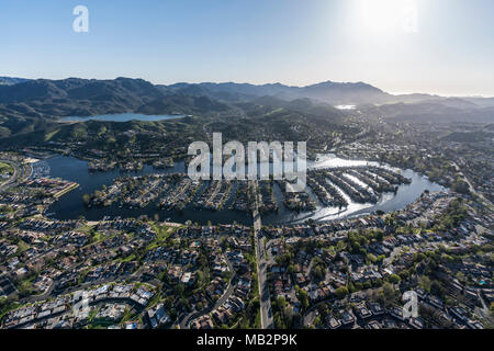 Aerial view of Westlake Island and lake near Los Angeles in suburban Thousand Oaks and Westlake Village, California. - Stock Photo