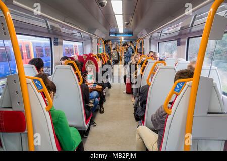 The interior of a new Desiro city class 707 train.  The class 707 trains are supplied by Siemens and operated by South Western Railway. - Stock Photo