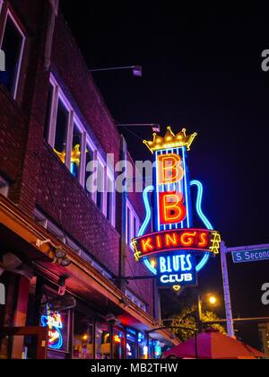 Memphis, TN/USA - Sep. 20, 2017: B.B. King's Blues Club at night on Beale Street, Memphis, TN on Sep. 20, 2017. - Stock Photo