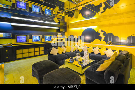 Memphis, TN - Sep. 21, 2017: Entertainment room in Elvis Presley's Graceland Mansion. Mansion is listed in the National Register of Historic Places.