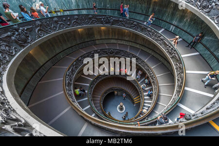 Famous spiral stairs in Vatican museums - Stock Photo
