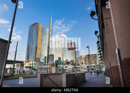Milan, Italy - February 17, 2017: Piazza Gae Aulenti with the tallest skyscraper in Italy, headquarters of the Unicredit offices - Stock Photo