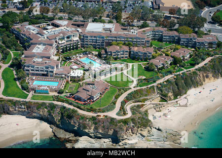 MONTAGE LAGUNA BEACH: A LUXURIOUS HOTEL IN AN IDYLLIC LOCATION (aerial view). Laguna Beach, Orange County, California, USA. - Stock Photo