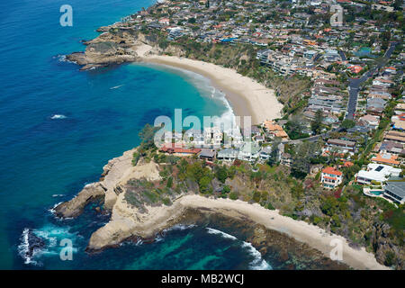 MUSSEL COVE (aerial view). Laguna Beach, Orange County, California, USA. - Stock Photo