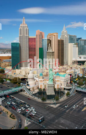 NEW YORK-NEW YORK HOTEL AND CASINO (elevated view). Paradise, Las Vegas, Clark County, Nevada, USA. - Stock Photo