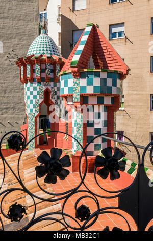 Tiled chimneys on the rooftop of Casa Vicens, designed by Antoni Gaudi and considered one of the first buildings of Art Nouveau, Barcelona, Spain - Stock Photo