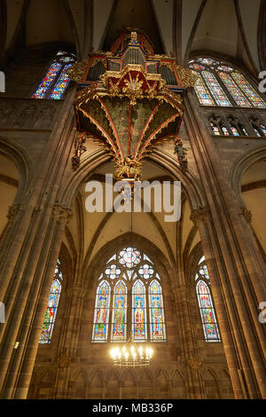 Organ, Gothic swallow nest organ in the nave, Strasbourg Cathedral, Strasbourg, Alsace, France - Stock Photo