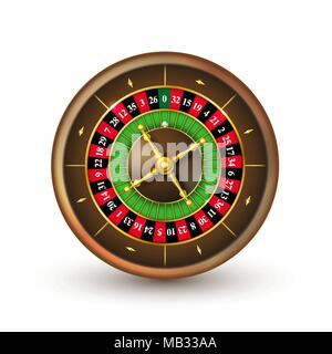 Realistic casino roulette wheel. Detailed vector illustration isolated on white background - Stock Photo