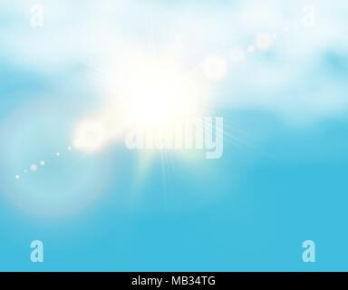 Realistic shining sun with lens flare. Blue sky with clouds background. Vector illustration - Stock Photo
