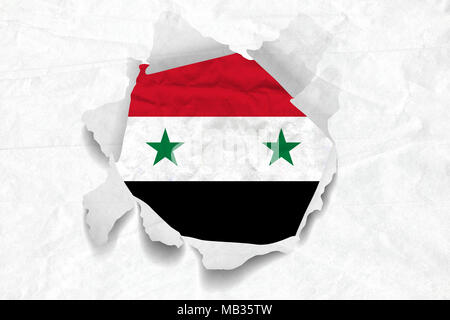 Realistic illustration of Syria flag on torned, wrinkled, dirty, grunge paper. 3D rendering. - Stock Photo