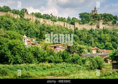 Tsarevets hill and fortress in Veliko Tarnovo, Bulgaria - Stock Photo