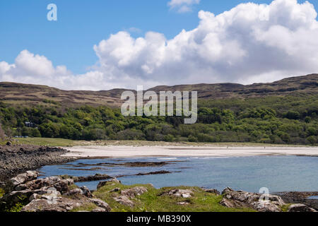 Mull's only sandy beach at Calgary Bay has an area of machair between land and beach. Calgary Isle of Mull Inner Hebrides Western Isles Scotland UK - Stock Photo