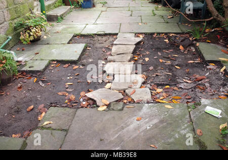 York Stone paving slabs stolen from a listed buildings foot path in England  UK - Stock Photo