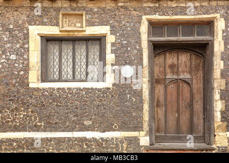 NORWICH, UK - MARCH 30, 2018: Details of the facade of a timbered framed House located on Colegate and built by Henry Bacon in 16th Century - Stock Photo