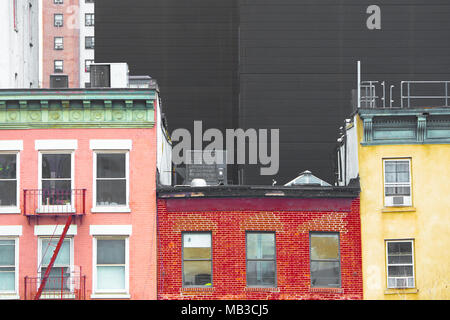 New York City cityscape of colorful buildings in Chelsea Manhattan - Stock Photo