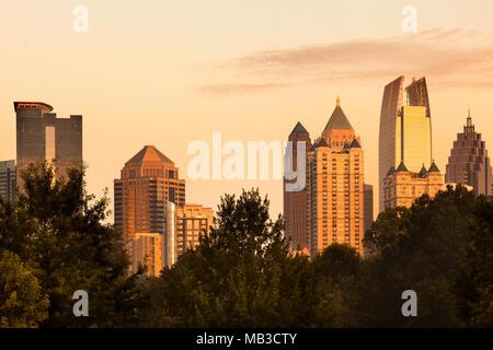 Midtown skyline from Piedmont Park, Atlanta, Georgia, USA - Stock Photo