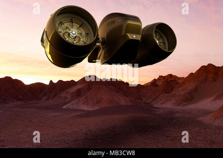 3D rendering of a Space cargo ship landing on Mars - Stock Photo