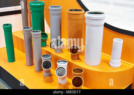 Plastic pipes for sewerage system - Stock Photo
